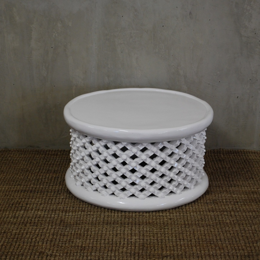 Home Side Tables Pedestals Bamileke Stool White 80cmdiameter