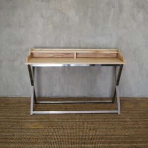 Wooden desk with metal legs