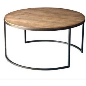 SQ Biron Coffee_Iron leg Wood top coffee table round