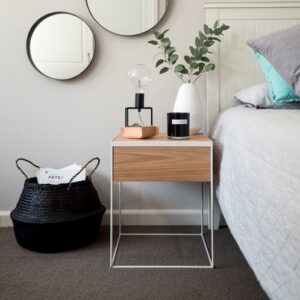 SQ Claro Side_Wood and metal bedside pedestal