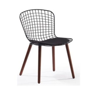 Metal seat and wooden leg dining chair