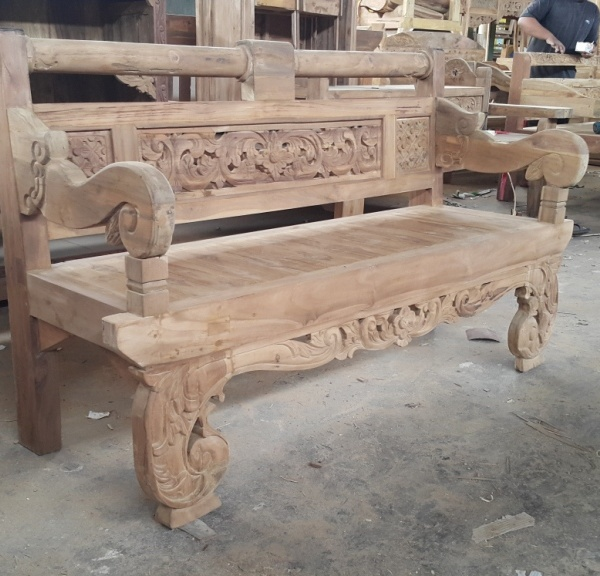 Carved Teak Bench Melonwoods Indonesian Furniture Quality Wooden