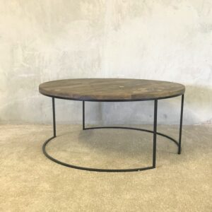 Wooden and metal coffee table round