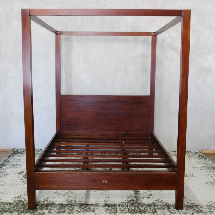 Home Beds Simple Four Poster Bed King Mahogany Wood