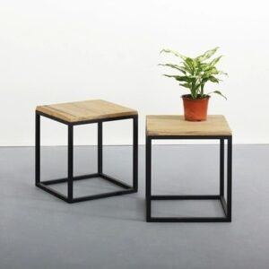 SQ Sardon Side_Wooden side table with metal leg